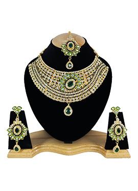 White N Green Zircon Stone Choker Necklace Set