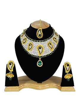 White N Green Zircon Stone Choker Necklace Set