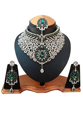 White N Green Zircon Stone Necklace Set