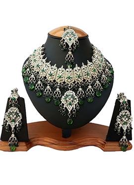 White N Green Zircon Stone Necklace Set
