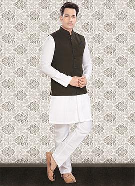 White N Greenish Black Linen Nehru Set