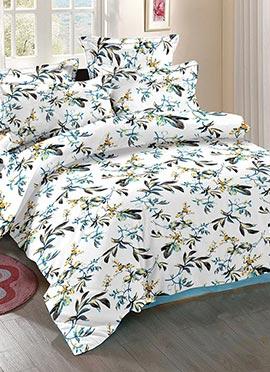 White N Grey Cotton Bed Sheet