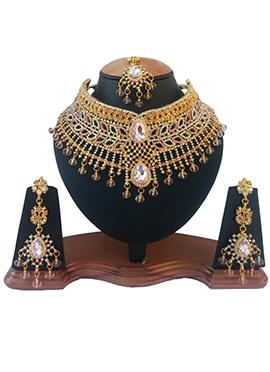 White N Light Pink Crystal Stone Choker Necklace Set