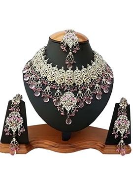 White N Light Pink Zircon Stone Necklace Set