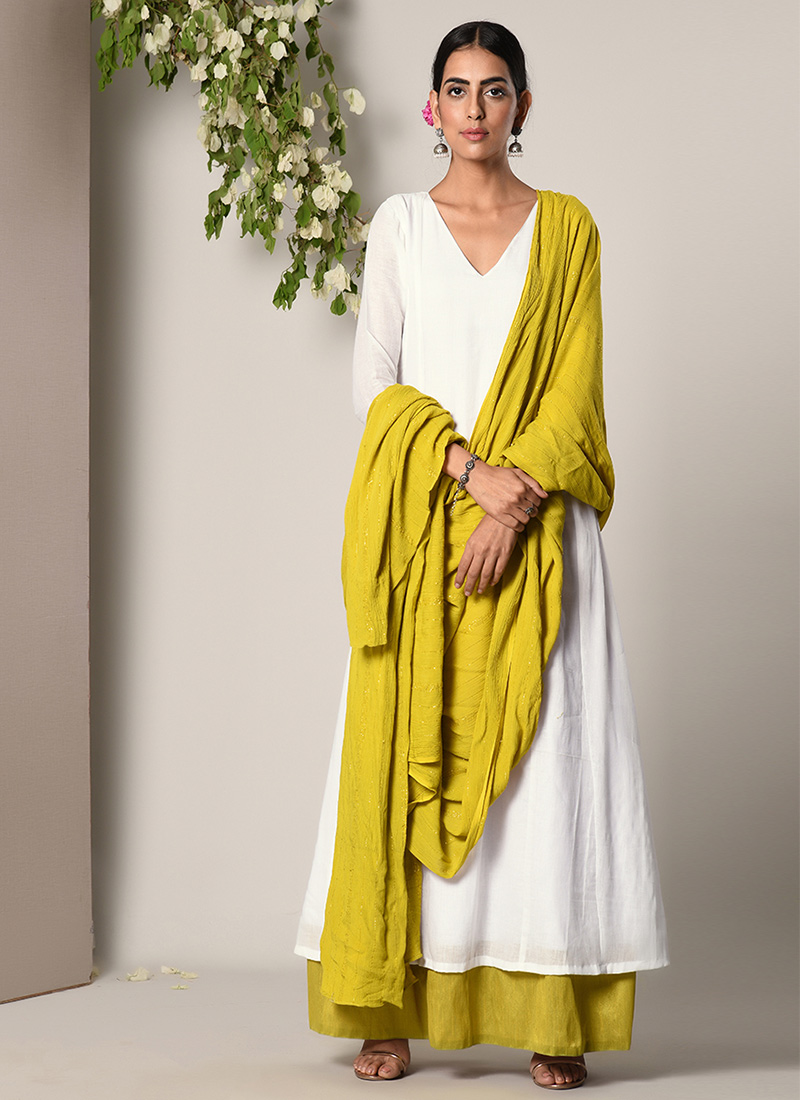 e507d795a9 Buy White N Lime Green Cotton Gown