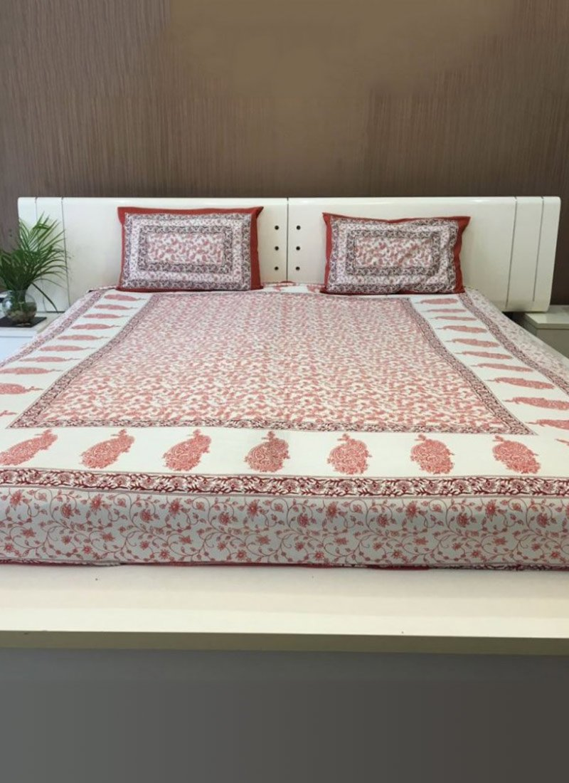 Buy White N Maroon Pure Cotton Bed Sheet Bed Sheets