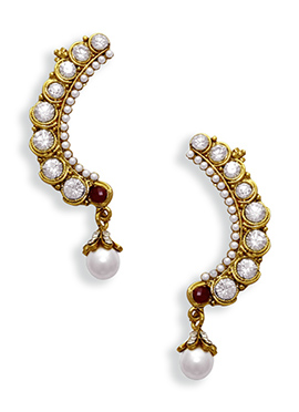 White N Maroon Stone Ear Cuffs