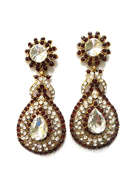 White N Maroon Stone Ornate Danglers