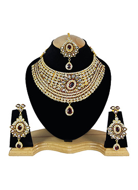 White N Maroon Zircon Stone Choker Necklace Set