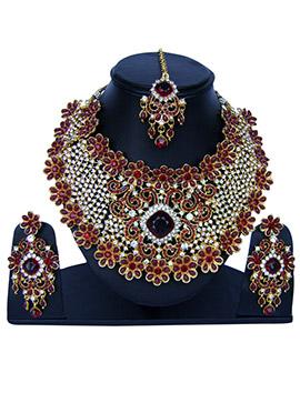 White N Maroon Zircon Stone Necklace Set