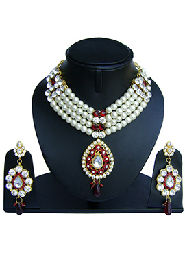 White N Maroon Zircon Stone Necklace Set