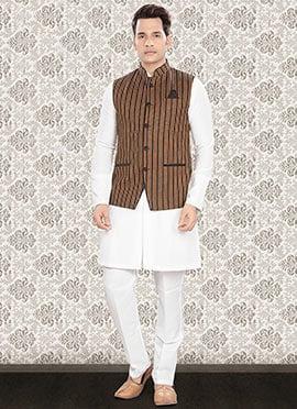 White N Multicolored Linen Nehru Set