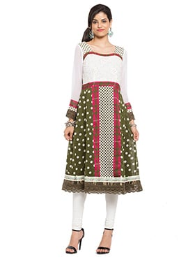 White N Olive Green Printed Anarkali Kurti