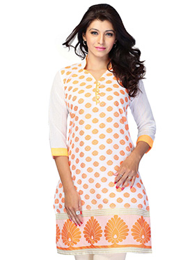 White N Orange Art Silk Short Kurti