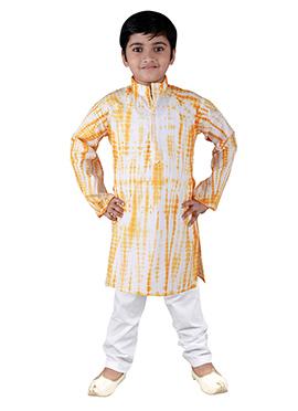 White N Orange Blended Cotton Teens Kurta Pyjama