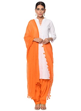 White N Orange Cotton Patiala Suit