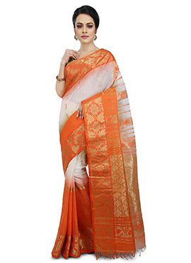 White N Orange Cotton Silk Saree