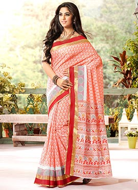 White N Orange Gadwal Silk Foliage Designed Saree