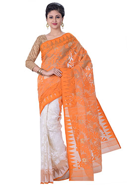 White N Orange Jamdani Half N Half Saree