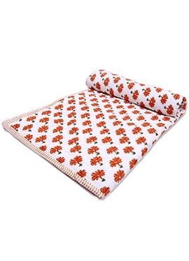 White N Orange Pure Cotton Double Sided Quilt