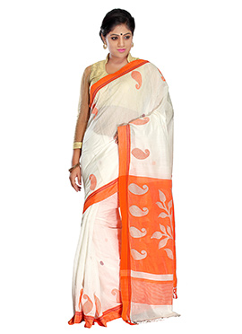 White N Orange Silk Cotton Jamdani Saree