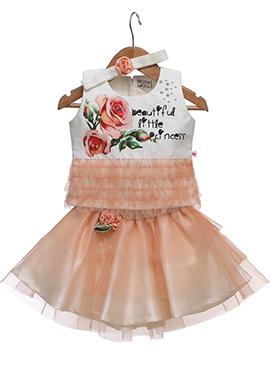 White N Peach Taffeta Silk Kids Dress