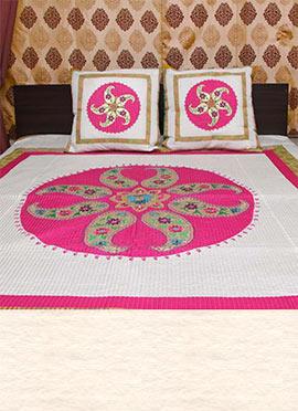 White N Pink Art Silk Bed Spread