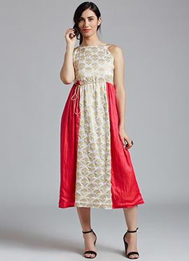 White N Pink Art Silk Dress