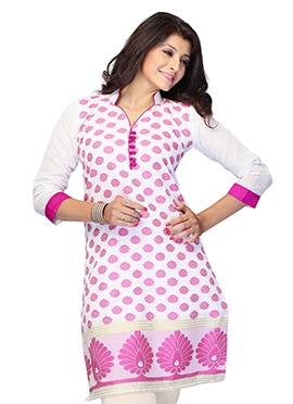 White N Pink Art Silk Short Kurti