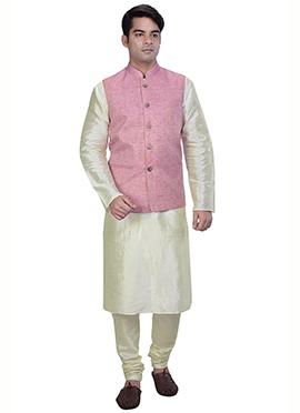 White N Pink Benarasi Art Dupion Silk Bandi Set