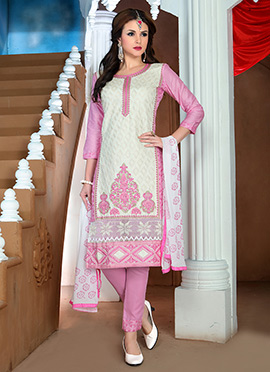 White N Pink Cotton Churidar Suit