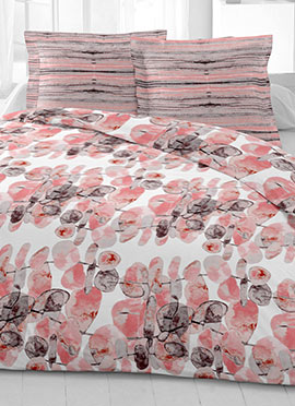 White N Pink Cotton King Size Bed Sheet