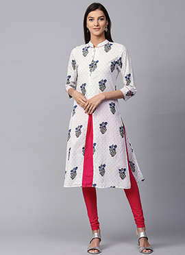 White N Pink Cotton Knee Length Kurti