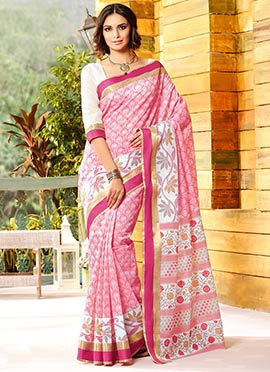 White N Pink Gadwal Silk Printed Foliage Designed Saree