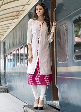 White N Pink Jacket Style Kurti