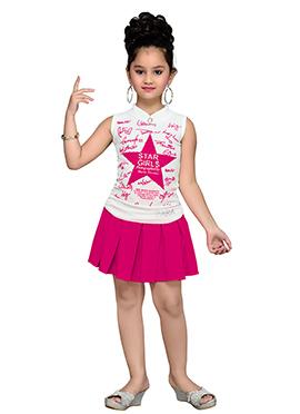 White N Pink Kids Dress