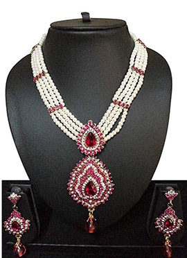 White N Pink Moti N Stone Ornate Necklace Set