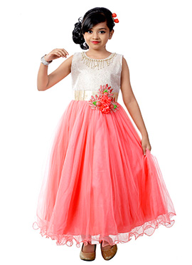 Gold N Pink Net Kids Gown