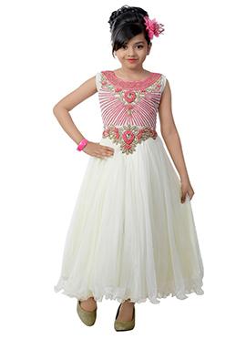 White N Pink Net Kids Gown