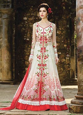 White N Pink Net Long Choli Anarkali Lehenga