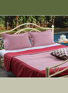White N Pink Pure Cotton Bed Sheet
