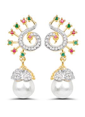 White N Pink Stones Peacock Design Danglers