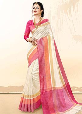 White N Pink Woven Saree