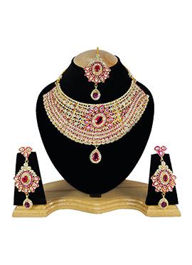 White N Pink Zircon Stone Choker Necklace Set