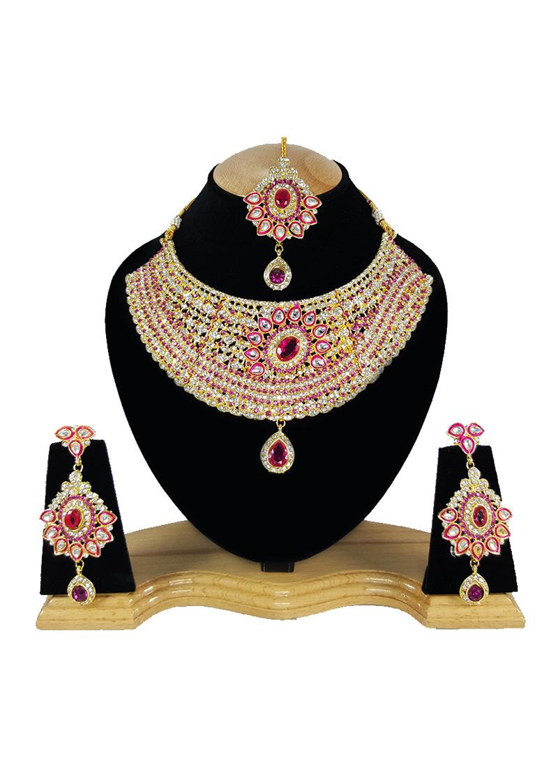0e4772493 Buy White N Pink Zircon Stone Choker Necklace Set