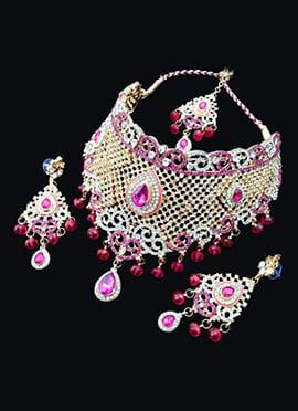 White N Pink Zircon Stone Necklace Set