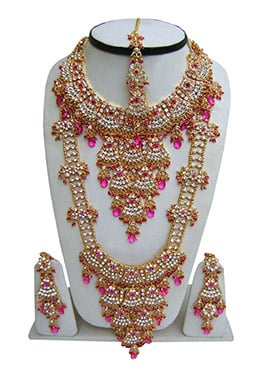 White N Pink Zircon Stones Bridal Set