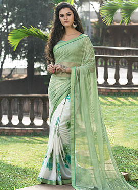 White N Pista Green Half N Half Saree