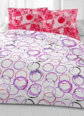 White N Purple Cotton King Size Bed Sheet