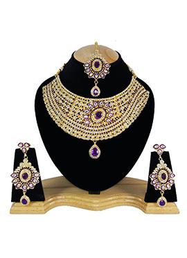 White N Purple Zircon Stone Choker Necklace Set